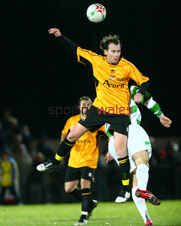 From James Benwell/SPORTINGWALES/21-03-2007/Newport County FC vs The New Saints FC. Action from the FAW Premier Cup Final at Newport Stadium. Newport's Ian Hillier makes a headed clearance.