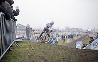 Cx World Champion Wout Van Aert (BEL/Crelan-Willems) unclipping up a (very) steep & muddy hill during the Elite Men's course recon<br /> <br /> CX Superprestige Noordzeecross <br /> Middelkerke / Belgium 2017