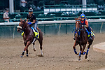 September 1, 2020: Finnick the Fierce and Necker Island exercise as horses prepare for the 2020 Kentucky Derby and Kentucky Oaks at Churchill Downs in Louisville, Kentucky. The race is being run without fans due to the coronavirus pandemic that has gripped the world and nation for much of the year. Scott Serio/Eclipse Sportswire/CSM