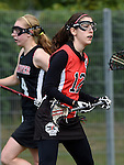 GER - Hannover, Germany, May 30: During the Women Lacrosse Playoffs 2015 match between DHC Hannover (black) and SC Frankfurt 1880 (red) on May 30, 2015 at Deutscher Hockey-Club Hannover e.V. in Hannover, Germany. Final score 23:3. (Photo by Dirk Markgraf / www.265-images.com) *** Local caption *** Rebecca Duecker #12 of SC 1880 Frankfurt