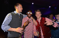 10.05.2014, Postpalast, Muenchen, GER, 1. FBL, FC Bayern Muenchen Meisterfeier, im Bild Manuel Neuer, David Alaba and Mitchell Weiser of FC Bayern Muenchen celebrate Manuel Neuer, David Alaba, Mitchell Weiser, // during official Championsparty of Bayern Munich at the Postpalast in Muenchen, Germany on 2014/05/11. EXPA Pictures © 2014, PhotoCredit: EXPA/ Eibner-Pressefoto/ EIBNER<br /> <br /> *****ATTENTION - OUT of GER***** <br /> Football Calcio 2013/2014<br /> Bundesliga 2013/2014 Bayern Campione Festeggiamenti <br /> Foto Expa / Insidefoto