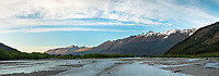 Sunrise over Humboldt Mountains and Rees River, Mount Aspiring National Park, UNESCO World Heritage Area, Central Otago, New Zealand, NZ