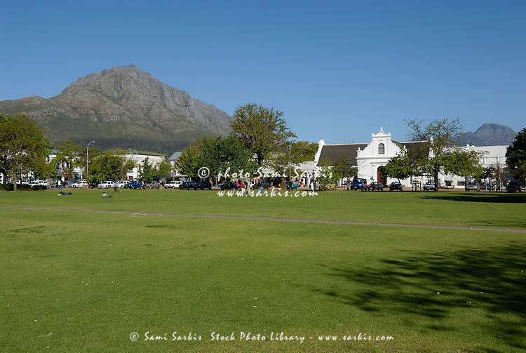 Park in front of the Church of Rhenish Mission in Stellenbosch Winelands, Western Cape Province, South Africa