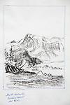 Alaska, Columbia Bay, Heather Island, Mountain 9502, charcoal on paper, Journal Art 2007,