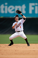 Bowie Baysox shortstop Mason McCoy (5) catches a popup during an Eastern League game against the Akron RubberDucks on May 30, 2019 at Prince George's Stadium in Bowie, Maryland.  Akron defeated Bowie 9-5.  (Mike Janes/Four Seam Images)