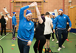 St Johnstone players took some festive cheer to Fairview School in Perth gving out selection boxes and gifts to the pupils…Paul Paton dancing with secondary school pupil Holly<br />Picture by Graeme Hart.<br />Copyright Perthshire Picture Agency<br />Tel: 01738 623350  Mobile: 07990 594431