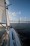 sails of a Beneteau 49 while sailing in Charleston South Carolina