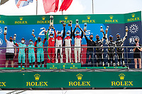 #83 AF Corse Ferrari 488 GTE EVO LMGTE Am, François Perrodo, Nicklas Nielsen, Alessio Rovera, #33 TF Sport Aston Martin Vantage AMR LMGTE Am, Ben Keating, Dylan Pereira, Felipe Fraga, #80 Iron Lynx Ferrari 488 GTE EVO LMGTE Am, Matteo Cressoni, Rino Mastronardi, Calum Illot 24 Hours of Le Mans , Podium, Circuit des 24 Heures, Le Mans, Pays da Loire, France
