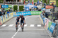 Dylan van Baarle (NED/INEOS Grenadiers) & Andrey Amador (CRI/INEOS Grenadiers) crossing the finish line together, happy for achieved goals with the overall win by teammate Richie Porte<br /> <br /> crossing the finish line<br /> <br /> 73rd Critérium du Dauphiné 2021 (2.UWT)<br /> Stage 8 (Final) from La Léchère-Les-Bains to Les Gets (147km)<br /> <br /> ©kramon