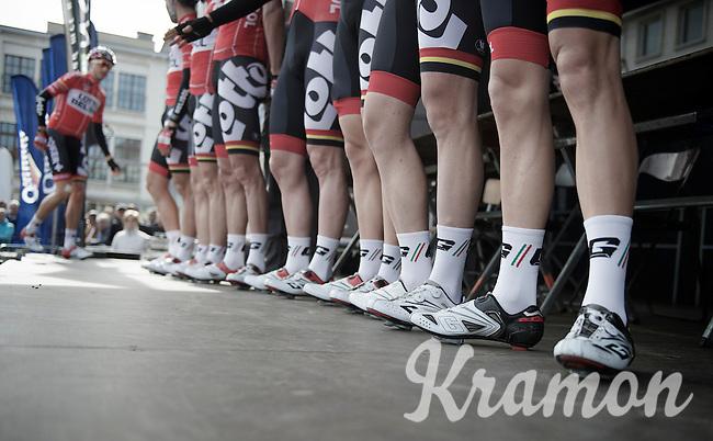 Lotto-Belisol startpodium line-up with Dennis Vanendert (BEL) a bit late (as usual)<br /> <br /> Nokere Koerse 2014