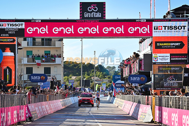 Alex Dowsett (GBR) Israel Start-Up Nation wins solo Stage 8 of the 103rd edition of the Giro d'Italia 2020 running 200km from Giovinazzo to Vieste, Sicily, Italy. 10th October 2020.  <br /> Picture: LaPresse/Massimo Paolone | Cyclefile<br /> <br /> All photos usage must carry mandatory copyright credit (© Cyclefile | LaPresse/Massimo Paolone)