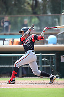 Gabriel Arias (13) of the Lake Elsinore Storm bats against the Inland Empire 66ers at San Manuel Stadium on June 5, 2019 in San Bernardino, California. (Larry Goren/Four Seam Images)
