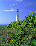 Cape Florida Lighthouse (1825) overlooking Biscayne Bay and the Atlantic Ocean from Bill Baggs State Recreation Area