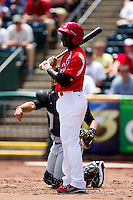 Jermaine Curtis (5) of the Springfield Cardinals at bat during a game against the San Antonio Missions on May 30, 2011 at Hammons Field in Springfield, Missouri.  Photo By David Welker/Four Seam Images