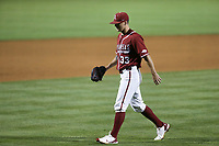 Arkansas Patrick Wicklander (33) returns to the dugout after being relieved, Saturday, June 5, 2021 during the sixth inning in the second game of the NCAA Fayetteville Regional at Baum-Walker Stadium in Fayetteville. Check out nwaonline.com/210606Daily/ for today's photo gallery. <br /> (NWA Democrat-Gazette/Charlie Kaijo)