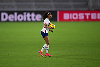 ORLANDO CITY, FL - FEBRUARY 18: Margaret Purce #20 settles the ball during a game between Canada and USWNT at Exploria stadium on February 18, 2021 in Orlando City, Florida.