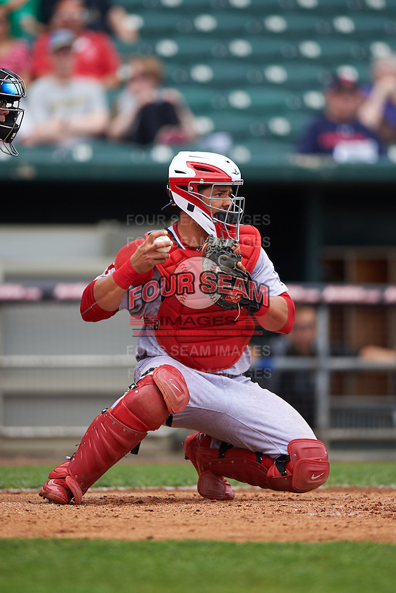 Reading Fightin Phils catcher Jorge Alfaro (11) during a game against the New Hampshire Fisher Cats on May 30, 2016 at Northeast Delta Dental Stadium in Manchester, New Hampshire.  New Hampshire defeated Reading 9-1.  (Mike Janes/Four Seam Images)