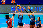 Ai Kurogo of Japan (L) attacks during the FIVB Volleyball Nations League Hong Kong match between Japan and Argentina on May 31, 2018 in Hong Kong, Hong Kong. Photo by Marcio Rodrigo Machado / Power Sport Images