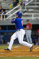 Dash Winningham (10) of the Kingsport Mets follows through on his swing against the Elizabethton Twins at Hunter Wright Stadium on July 8, 2015 in Kingsport, Tennessee.  The Mets defeated the Twins 8-2. (Brian Westerholt/Four Seam Images)