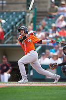 Norfolk Tides designated hitter Dariel Alvarez (12) at bat during a game against the Rochester Red Wings on July 17, 2016 at Frontier Field in Rochester, New York.  Rochester defeated Norfolk 3-2.  (Mike Janes/Four Seam Images)