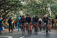 5th October 2021, AJ Bell  Womens  Cycling Tour, Stage 2,  Walsall to Walsall. Lizzie Deignan leads the peloton on the circuit of Walsall.