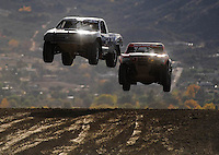Dec. 19, 2009; Lake Elsinore, CA, USA; LOORRS unlimited lite driver Chris Brandt leads Rob Naughton during the Lucas Oil Challenge Cup at the Lake Elsinore Motorsports Complex. Mandatory Credit: Mark J. Rebilas-US PRESSWIRE