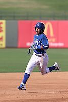 Ricky Aracena (2) of the AZL Royals runs the bases during a game against the AZL Mariners at Surprise Stadium on July 4, 2015 in Surprise, Arizona. Mariners defeated the Royals, 7-4. (Larry Goren/Four Seam Images)