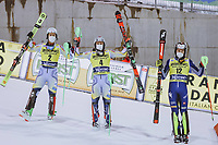 22nd December 2020, Madonna di Campiglio, Italy; FIS Mens slalom world cup race;  2nd placed Sebastian Foss Solevaag of Norway Winner Henrik Kristoffersen of Norway 3rd placed Alex Vinatzer of Italy after 2nd run of mens Slalom