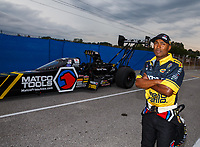Sep 1, 2017; Clermont, IN, USA; NHRA top fuel driver Antron Brown during qualifying for the US Nationals at Lucas Oil Raceway. Mandatory Credit: Mark J. Rebilas-USA TODAY Sports