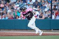 Luis Gonzalez (2) of the Charlotte Knights takes off for second base during the game against the Gwinnett Stripers at Truist Field on July 17, 2021 in Charlotte, North Carolina. (Brian Westerholt/Four Seam Images)