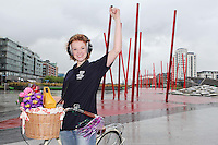 NO REPRO FEE. 8/6/2011.Dublin's Bike to Work Day. Dublin's 98FM DJ Claire Solan is pictured at Grand Canal Dock launching Bike to Work Day, Claire took a spin around Dublin Docklands on a Dutch bicycle to prepare for the lunchtime cycle on June 22nd, at which all workers who cycle to their place of employment will be encouraged to take part.Win one of 500 goodie bags by registering to attend the event @ www.dublincitycycling.ie. Prizes for best dressed will also be presented following the cycle For further information contact:Emer O'Reilly, Limelight Communications E: emer.oreilly@limelight.ie T: 01 6680600 /0868593658. Picture James Horan/Collins Photos