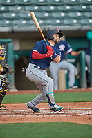 José Godoy (27) of the Tacoma Rainiers at bat against the Salt Lake Bees at Smith's Ballpark on May 16, 2021 in Salt Lake City, Utah. The Bees defeated the Rainiers 8-7. (Stephen Smith/Four Seam Images)