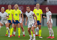 TOKYO, JAPAN - JULY 21: Kelley O'Hara #5 of the USWNT prepares for corner kick during a game between Sweden and USWNT at Tokyo Stadium on July 21, 2021 in Tokyo, Japan.