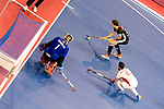 Berlin, Germany, February 10: During the FIH Indoor Hockey World Cup semi-final match between Germany (black) and Iran (white) on February 10, 2018 at Max-Schmeling-Halle in Berlin, Germany. Final score 6-2. (Photo by Dirk Markgraf / www.265-images.com) *** Local caption *** NEJAD Sasan HATAMI #1 of Iran, Marco MILTKAU #22 of Germany