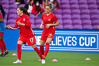 ORLANDO, FL - FEBRUARY 21: Shelina Zadorsky #4 of the CANWNT warms up before a game between Argentina and Canada at Exploria Stadium on February 21, 2021 in Orlando, Florida.