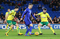 Danny Ward of Cardiff City is marked by Timm Klose of Norwich City and Grant Hanley during the Sky Bet Championship match between Cardiff City and Norwich City at The Cardiff City Stadium, Wales, UK. Friday 01 December 2017