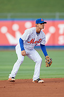 St. Lucie Mets shortstop Andres Gimenez (12) during the first game of a doubleheader against the Charlotte Stone Crabs on April 24, 2018 at First Data Field in Port St. Lucie, Florida.  St. Lucie defeated Charlotte 5-3.  (Mike Janes/Four Seam Images)