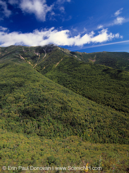 Appalachian Trail-Scenic views of Franconia Ridge from Old Bridle Path in the White Mountain National Forest of New Hampshire USA