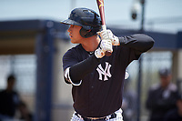 New York Yankees Drew Bridges (59) at bat during a minor league Spring Training game against the Detroit Tigers on March 22, 2017 at the Yankees Complex in Tampa, Florida.  (Mike Janes/Four Seam Images)