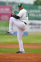 Jose Flores #28 of the Clinton LumberKings pitches against the West Michigan Whitecaps at Ashford University Field on July  25, 2014 in Clinton, Iowa. The Whitecaps won 9-0.   (Dennis Hubbard/Four Seam Images)