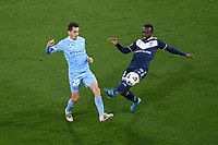 6th June 2021; AAMI Park, Melbourne, Victoria, Australia; A League Football, Melbourne Victory versus Melbourne City; Adrian Luna of Melbourne City and Adama Traore of the Victory compete for the ball