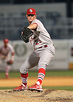 May 22, 2010 Pitcher David Carpenter of the Palm Beach Cardinals, Florida State League Class-A affiliate of the St.Louis Cardinals, delivers a pitch during a game at George M. Steinbrenner Field in Tampa, FL. Photo by: Mark LoMoglio/Four Seam Images