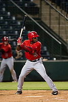 AZL Angels center fielder Johan Sala (5) bats during a game against the AZL Giants on July 9, 2017 at Diablo Stadium in Tempe, Arizona. AZL Giants defeated the AZL Angels 8-4. (Zachary Lucy/Four Seam Images)