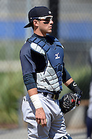 Catcher Luis Torrens (20) of the New York Yankees organization during practice before a minor league spring training game against the Toronto Blue Jays on March 16, 2014 at the Englebert Minor League Complex in Dunedin, Florida.  (Mike Janes/Four Seam Images)