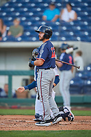 Tyler Depreta-Johnson (22) of the Nashville Sounds bats against the Reno Aces at Greater Nevada Field on June 5, 2019 in Reno, Nevada. The Aces defeated the Sounds 3-2. (Stephen Smith/Four Seam Images)