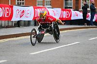 3rd October 2021; London, England: The Virgin Money 2021 London Marathon: Rafael Botello Jimenez of Spain crossing Narrow Street Swing Bridge, Limehouse Basin between mile 14 and 15.