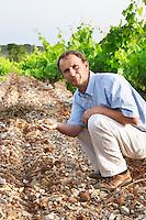 Chateau de Lascaux, Vacquieres village. Pic St Loup. Languedoc. Jean-Benoît Cavalier . Tourtourelle area. Terroir soil. Owner winemaker. France. Europe. Vineyard. Soil with stones rocks.