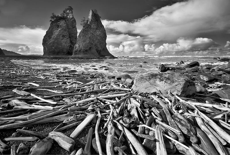 Driftwood and Split Rock. Rialto Beach. Olympic National Park, Washington