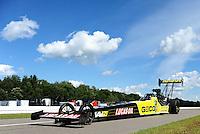 Aug. 20, 2011; Brainerd, MN, USA: NHRA top fuel dragster driver Morgan Lucas during qualifying for the Lucas Oil Nationals at Brainerd International Raceway. Mandatory Credit: Mark J. Rebilas-