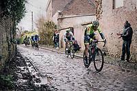 Baptiste Planckaert (BEL/Wallonie-Bruxelles) over the roughest (and wet!) cobbles<br /> <br /> 51th Le Samyn 2019 <br /> Quaregnon to Dour (BEL): 200km<br /> <br /> ©kramon